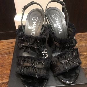 CHANEL Shoes - Chanel Black Ruffle Bow Patent Leather CC